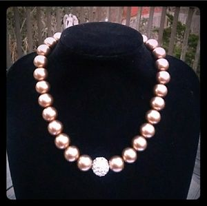VTG Bronze-Tone Glass Pearl Necklace wPave Crystal